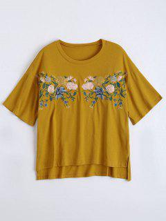 High Low Loose Embroidered T-shirt - Ginger