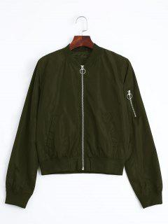 Zip Up Fall Bomber Jacket - Army Green L