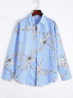 Floral Print Striped Long Shirt - Blue Xl