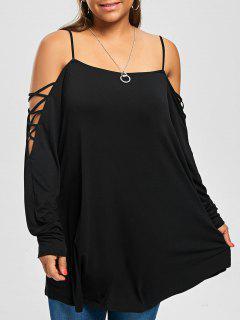 Plus Size Criss Cross Cold Shoulder Long T-shirt - Black 4xl