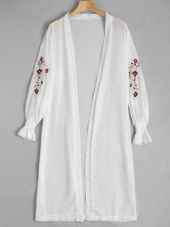 Blusa De Gasa Delantera Abierta Remendada Floral - Blanco