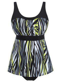 Plus Size Zebra Print Tankini Set - Xl
