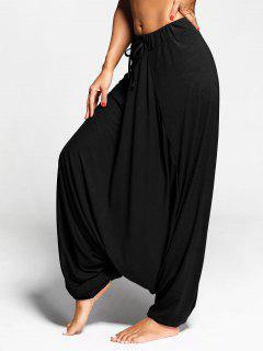 Drop Bottom Harem Pants With Drawstring - Black Xl