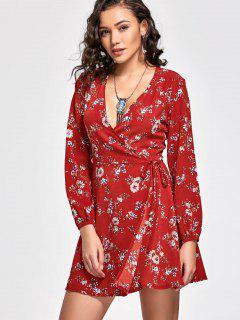 Robe Enveloppante Imprimée Florale à Col Plongeant - Rouge L