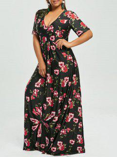 Plus Size Floral V Neck Maxi Bohemian Dress - Black 5xl
