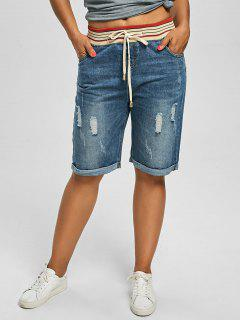 Ripped Plus Size Denim Shorts - Denim Blue 4xl