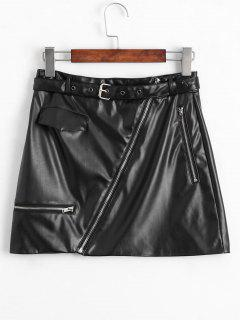 Asymmetric Zipper Belted Faux Leather Skirt - Black L