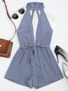 Cut Out Backless Tassels Checked Romper - Blue L