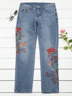 Bleach Wash Floral Embroidered Tapered Jeans - Denim Blue L