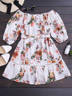 Blume Gürtel Aus Schulter Mini Kleid - Weiß L