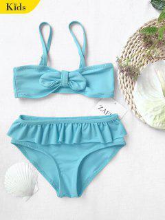 Bow Frilled Kids Bikini Set - Blue 3t
