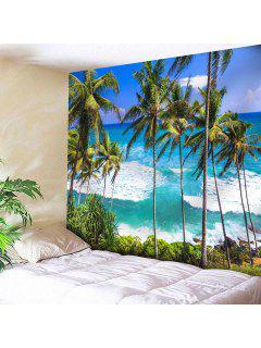 Impresión Del árbol De Coco De La Playa Tapicería Que Cuelga De La Pared - Azul Zafiro W91 Pulgadas * L71 Pulgadas