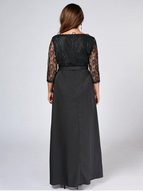 latest Belted Lace Panel Maxi Plus Size Dress - BLACK 5XL Mobile