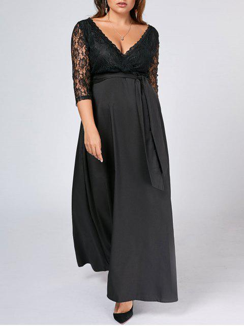 latest Belted Lace Panel Maxi Plus Size Dress - BLACK 5XL Mobile