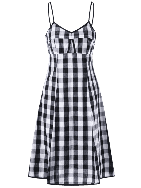 shops Empire Waist Hollow Out Tartan Cami Dress - BLACK WHITE XL Mobile