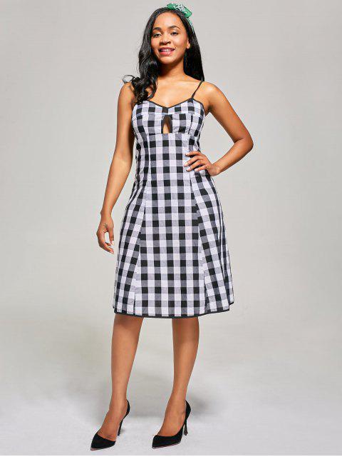 Empire Waist Hollow Out Tartan Cami Dress - Blanc-Noir 2XL Mobile