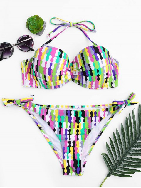 Selbstbinden Fuller Bust Underwire Bikini Set - Mehrfarbig L Mobile