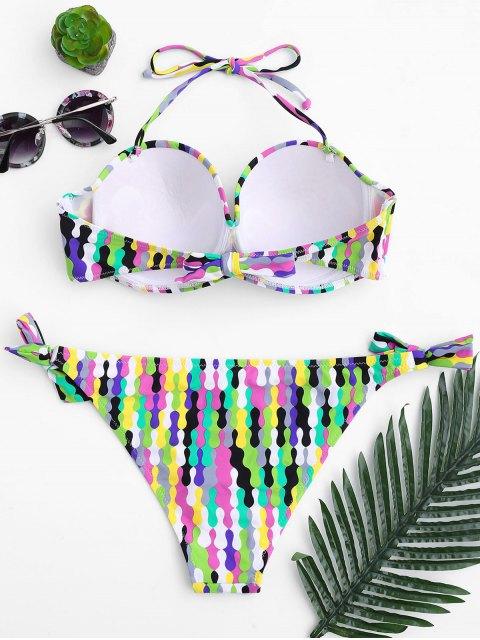 fancy Self Tie Fuller Bust Underwire Bikini Set - MULTICOLOR M Mobile