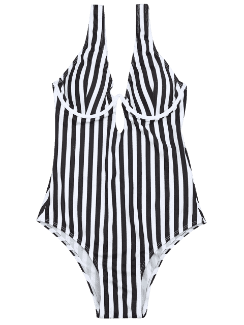 affordable Underwire Striped One Piece Swimsuit - WHITE AND BLACK M Mobile