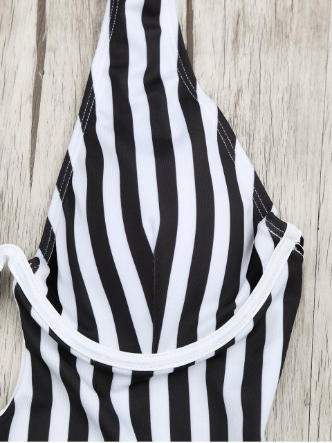 womens Underwire Striped One Piece Swimsuit - WHITE AND BLACK S Mobile