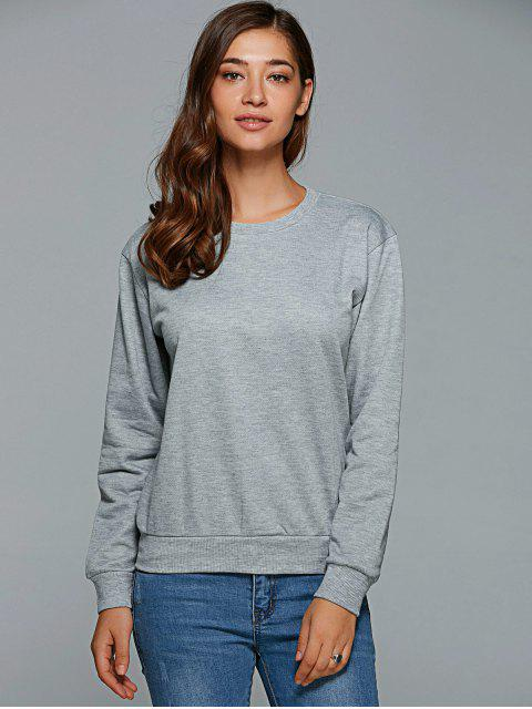 unique Letter Pattern Round Collar Sweatshirt - GRAY S Mobile