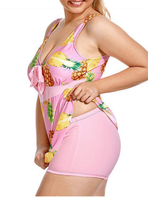 ladies Pineapple Print Tropical Plus Size Tankini Set - PINK 2XL Mobile