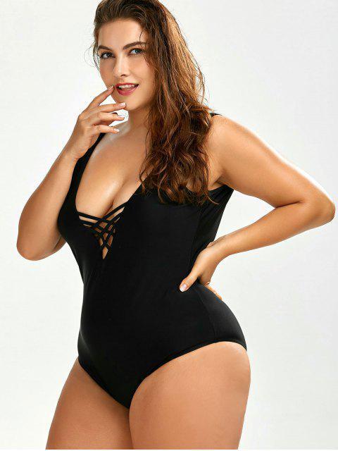 lady Cutout Open Back Plus Size One Piece Swimwear - BLACK 2XL Mobile