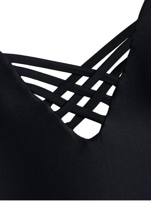 online Cutout Open Back Plus Size One Piece Swimwear - BLACK 3XL Mobile