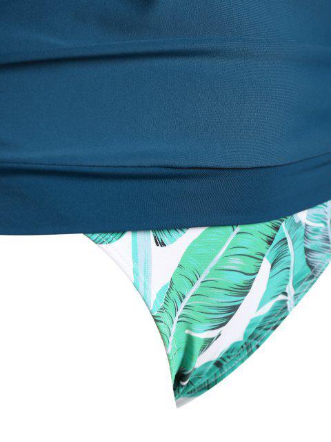 hot Halter Blouson Plus Size Tropical Tankini Set - PURPLISH BLUE XL Mobile