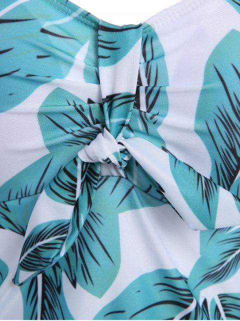 fashion Leaf Print Halter Plus Size Skirted Swimsuit - LIGHT BLUE XL Mobile