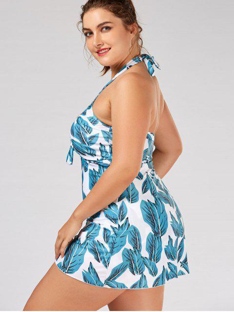 fancy Leaf Print Halter Plus Size Skirted Swimsuit - LIGHT BLUE 2XL Mobile