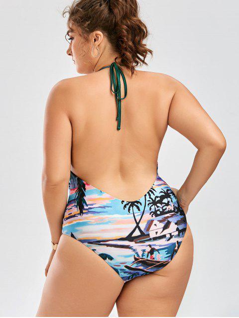 women Halter Low Back Plus Size One-Piece Swimsuit - GREEN 2XL Mobile
