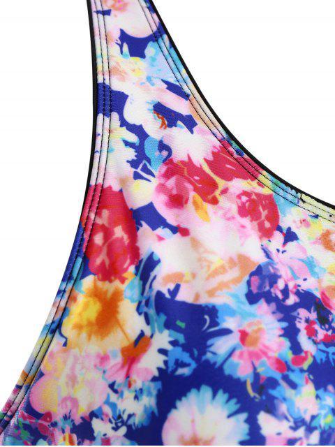 online Mesh Floral Plus Size Tankini Set - FLORAL 3XL Mobile