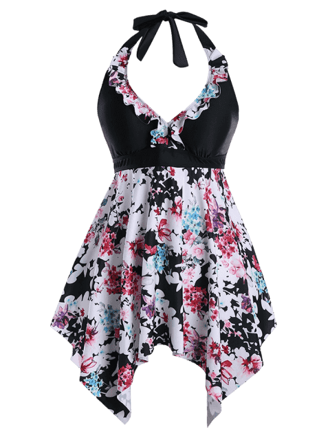 outfit Halter Floral Handkerchief Plus Size Tankini Set - BLACK 3XL Mobile