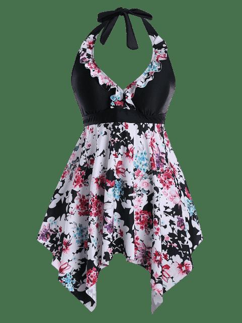 Ensemble Halter Floral Handkerchief Plus Size Tankini - Noir 5XL Mobile