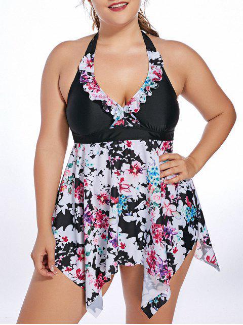 shop Halter Floral Handkerchief Plus Size Tankini Set - BLACK 5XL Mobile