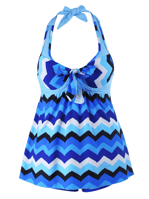 Zigzag Print Halter Plus Size Tankini Set - Bleu XL Mobile