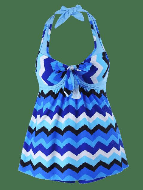 Zigzag Print Halter Plus Size Tankini Set - Bleu 3XL Mobile