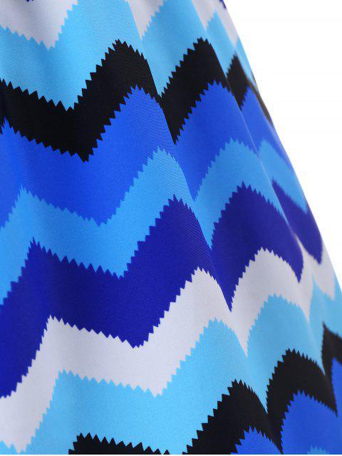 women's Zigzag Print Halter Plus Size Tankini Set - BLUE 3XL Mobile
