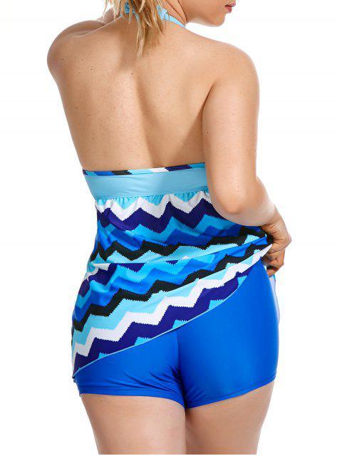 ladies Zigzag Print Halter Plus Size Tankini Set - BLUE 4XL Mobile