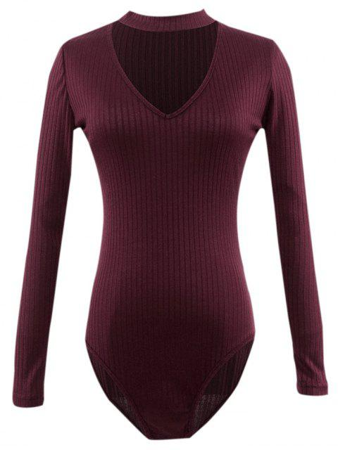 latest Cut Out Fitted Choker Bodysuit - BURGUNDY S Mobile