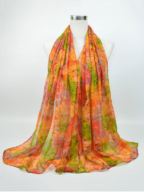 Nostálgico patrón Voile Gossamer Shawl bufanda - Verde+Amarillo  Mobile