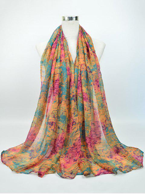 Nostálgico patrón Voile Gossamer Shawl bufanda - Rosa y Amarillo y Verde  Mobile