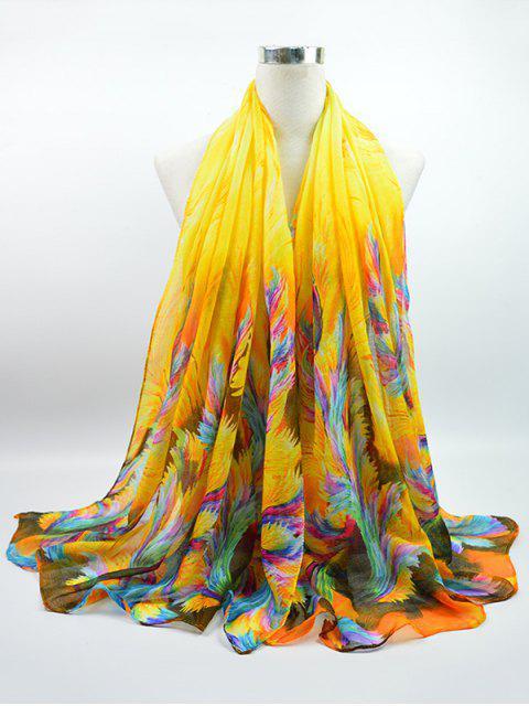 Écharpe en Voile Gossamer à Imprimé Aquarelle Multicolores - Jaune  Mobile