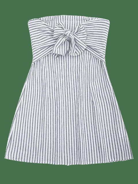 Stripes Bowknot Tube Mini Dress - Rayure M Mobile
