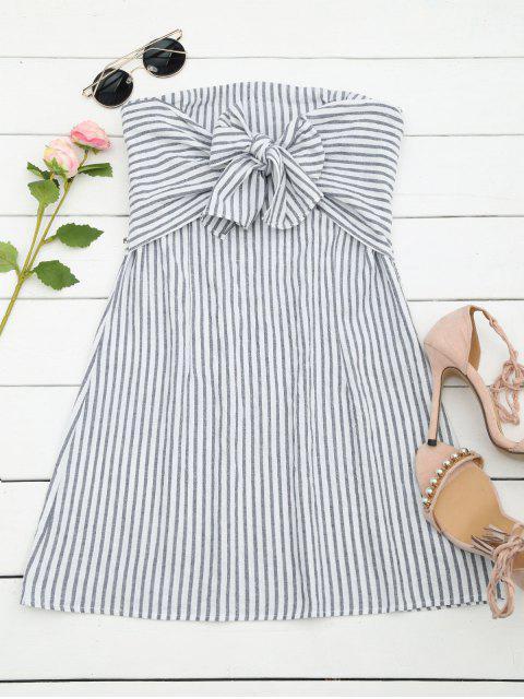 Bandeau Mini Kleid mit Streifen und Schleifedetail - Streifen  M Mobile