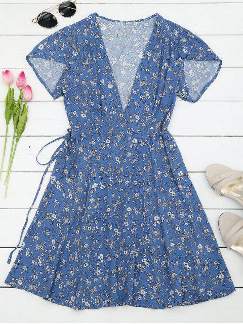 outfit Tiny Floral Mini Wrap Beach Dress - FLORAL L Mobile