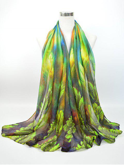 Écharpe évasée à fleurs - Vert Foncé  Mobile