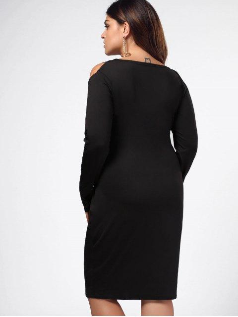 Robe de gaine épaule fantaisie - Noir XL Mobile