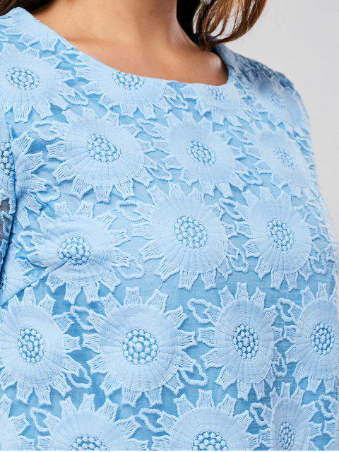 Robe à manches courtes brodées à manches courtes - Bleu 2XL Mobile